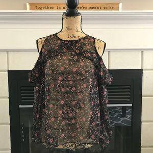 Tops - Sheer floral cold shoulder blouse